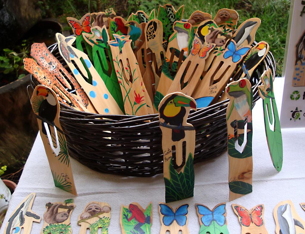 Separdores de libros de madera reciclado, pintados a mano